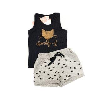Girls Sparkly Cat Tank Top & Shorts Set